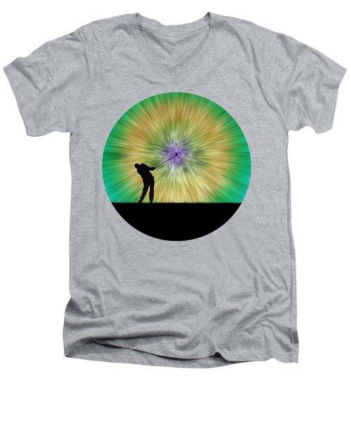 Green Tie Dye Golfer Silhouette Men's V-Neck T-Shirt by Phil Perkins