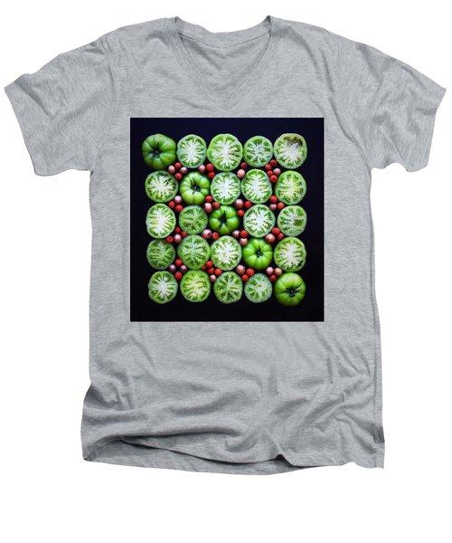 Green Tomato Slice Pattern Men's V-Neck T-Shirt