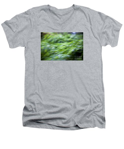 Green Waterfall 1 Men's V-Neck T-Shirt by Serene Maisey