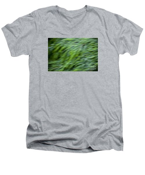 Green Waterfall 2 Men's V-Neck T-Shirt by Serene Maisey