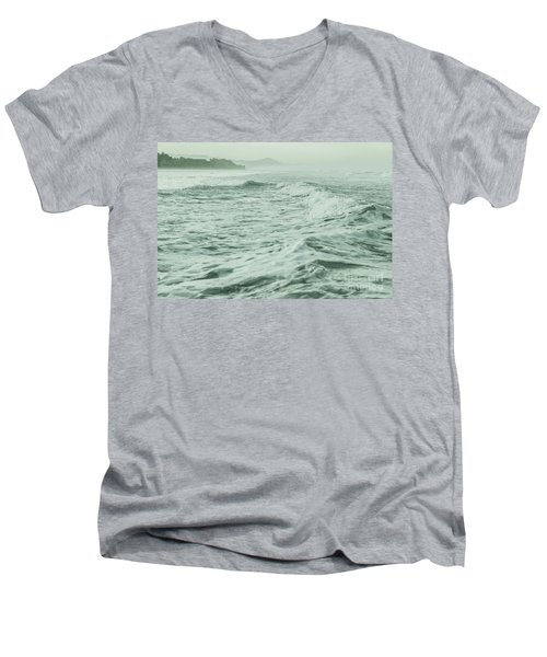 Green Waves Men's V-Neck T-Shirt by Iris Greenwell