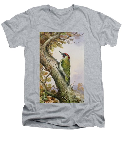 Green Woodpecker Men's V-Neck T-Shirt