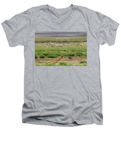 Men's V-Neck T-Shirt featuring the photograph Greenery In Desert, Gobi, 2016 by Hitendra SINKAR