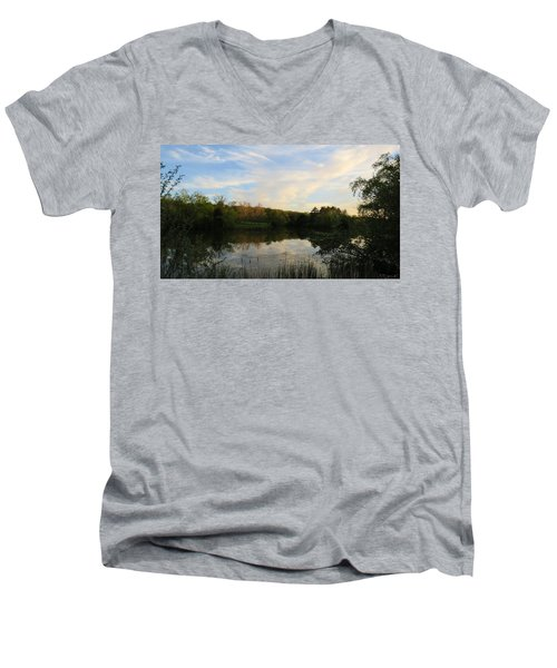 Men's V-Neck T-Shirt featuring the photograph Greenfield Pond by Kimberly Mackowski
