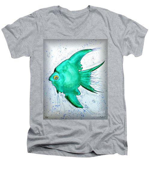 Men's V-Neck T-Shirt featuring the mixed media Greenfish by Walt Foegelle