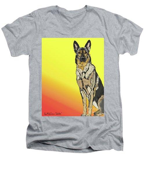Gretchen In Digital Men's V-Neck T-Shirt by Ania M Milo
