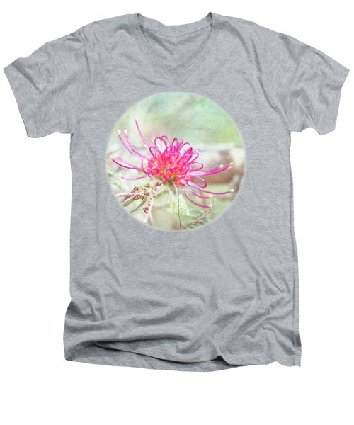 Men's V-Neck T-Shirt featuring the photograph Grevillea by Linda Lees