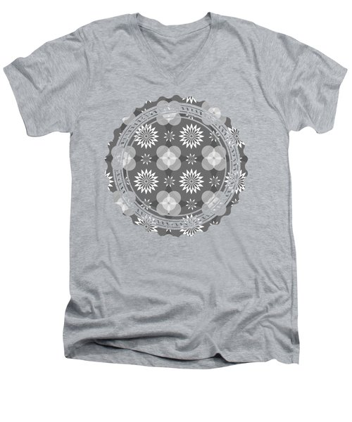 Grey Circles And Flowers Pattern Men's V-Neck T-Shirt
