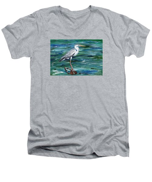 Grey Heron Of Cornwall -painting Men's V-Neck T-Shirt