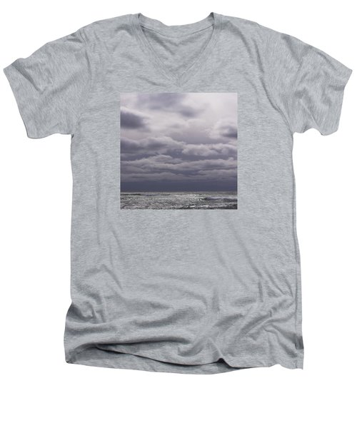 Men's V-Neck T-Shirt featuring the photograph Grey Horizon by Adria Trail