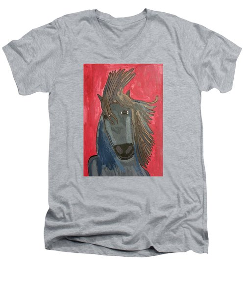 Grey Horse Men's V-Neck T-Shirt by Artists With Autism Inc