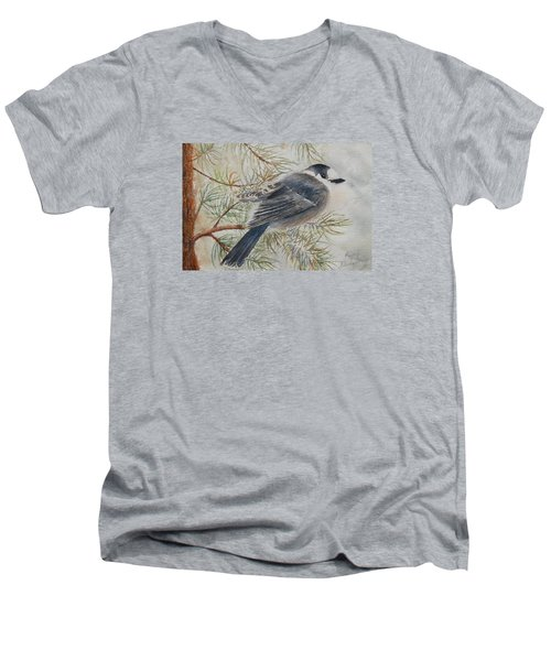 Grey Jay Men's V-Neck T-Shirt by Ruth Kamenev