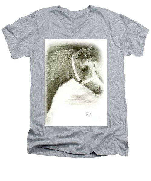 Men's V-Neck T-Shirt featuring the drawing Grey Welsh Pony  by Ryn Shell