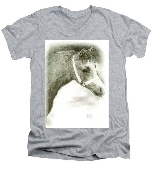 Grey Welsh Pony  Men's V-Neck T-Shirt