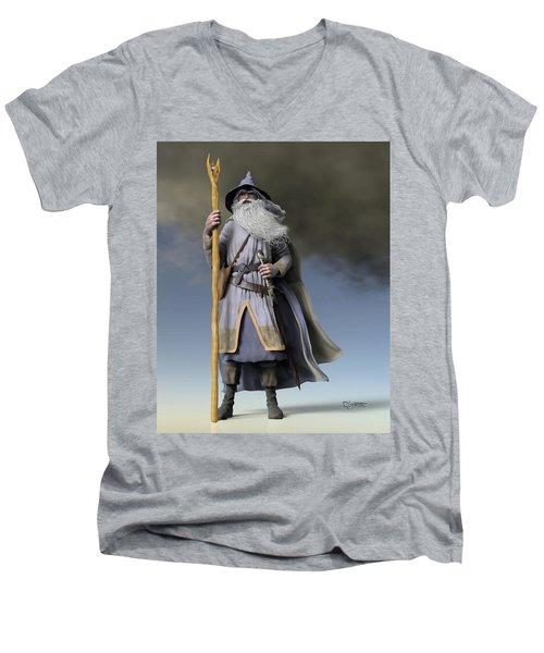 Grey Wizard Men's V-Neck T-Shirt by Dave Luebbert