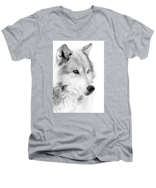 Grey Wolf Profile Men's V-Neck T-Shirt by Athena Mckinzie
