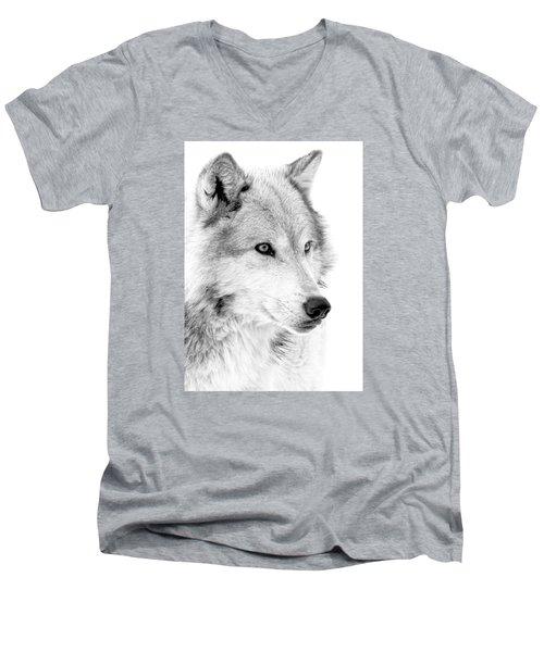 Grey Wolf Profile Men's V-Neck T-Shirt