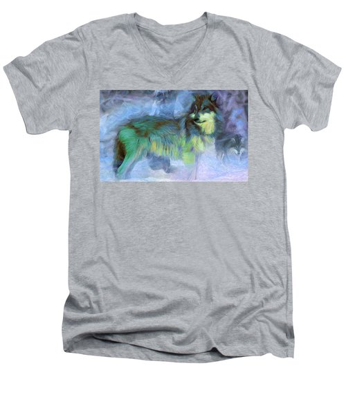 Grey Wolves In Snow Men's V-Neck T-Shirt