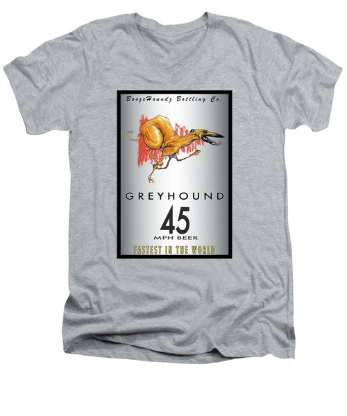 Greyhound 45 Mph Beer Men's V-Neck T-Shirt by John LaFree