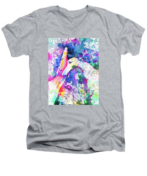 Greyhound Trance Men's V-Neck T-Shirt by Zaira Dzhaubaeva