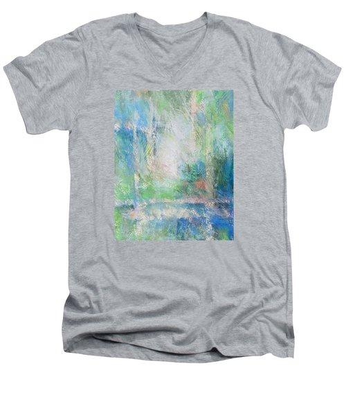 Grid Men's V-Neck T-Shirt by Becky Chappell