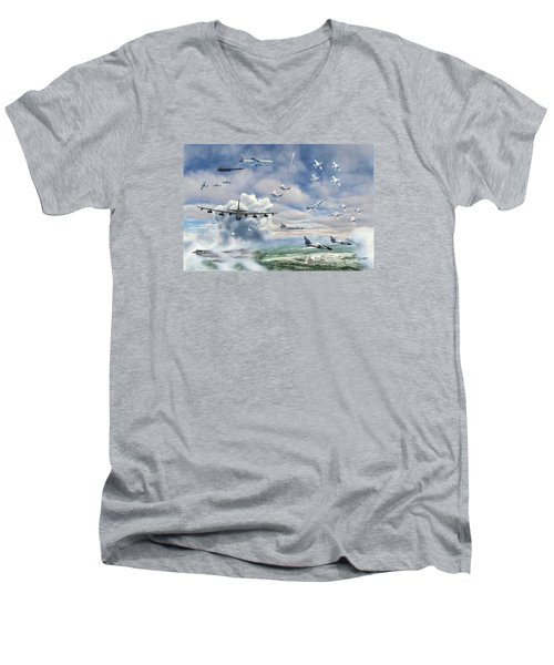Men's V-Neck T-Shirt featuring the painting Griffiss Air Force Base by Dave Luebbert