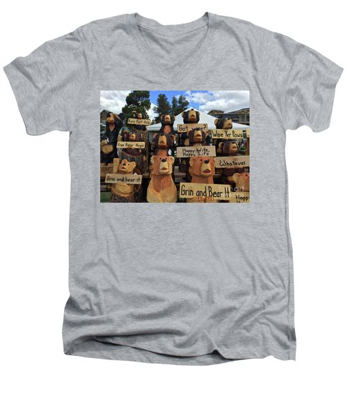 Grin And Bear It Men's V-Neck T-Shirt by Beth Saffer