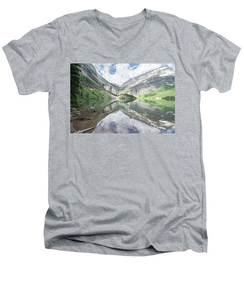 Grinnell Lake Mirrored Men's V-Neck T-Shirt