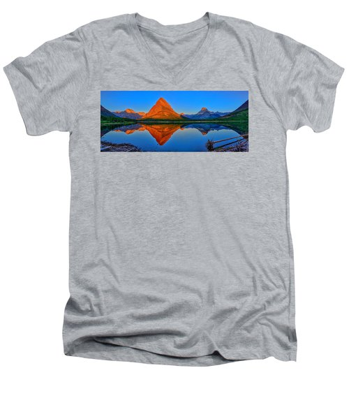 Grinnell Point Alpenglow Panorama Men's V-Neck T-Shirt by Greg Norrell