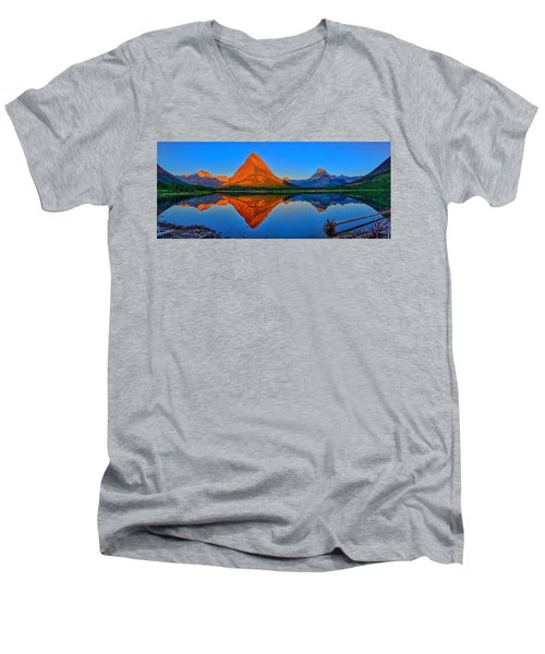 Grinnell Point Alpenglow Panorama Men's V-Neck T-Shirt