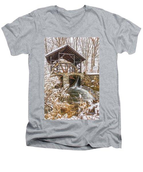 Grist Mill In Fresh Snow Men's V-Neck T-Shirt