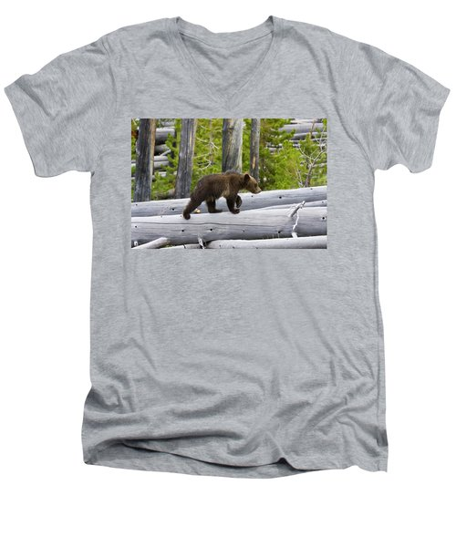 Grizzly Cub Men's V-Neck T-Shirt
