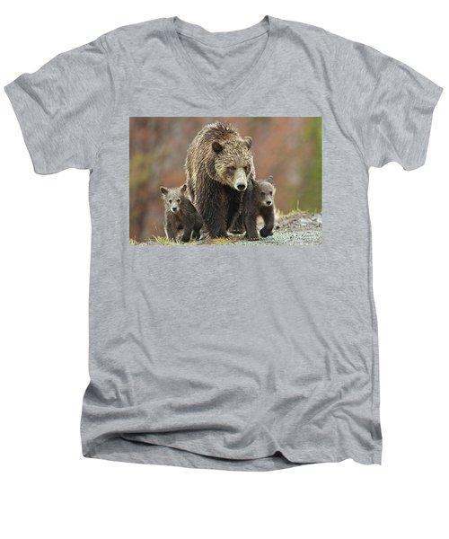 Grizzly Family Men's V-Neck T-Shirt
