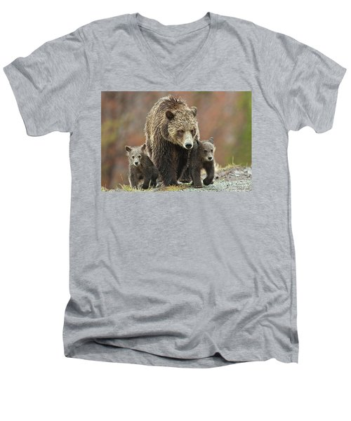 Men's V-Neck T-Shirt featuring the photograph Grizzly Family by Wesley Aston
