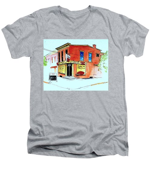 Men's V-Neck T-Shirt featuring the painting Grodzicki's Market by William Renzulli