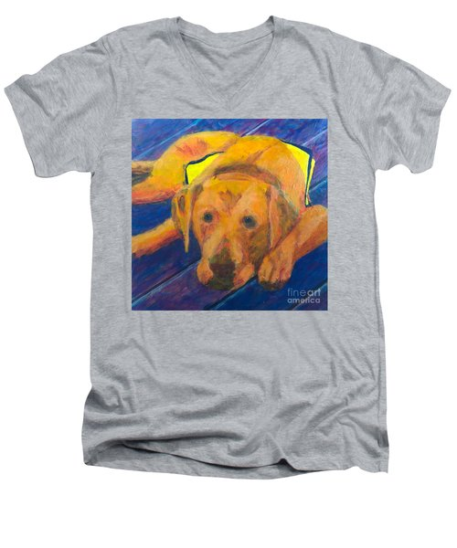 Men's V-Neck T-Shirt featuring the painting Growing Puppy by Donald J Ryker III