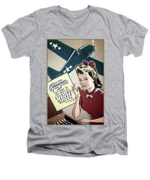 Grumman Sterling Poster Men's V-Neck T-Shirt