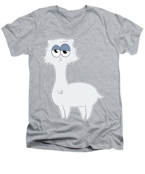 Grumpy Persian Cat Llama Men's V-Neck T-Shirt