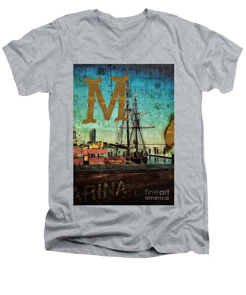 Grungy Melbourne Australia Alphabet Series Letter M Marina Dockl Men's V-Neck T-Shirt