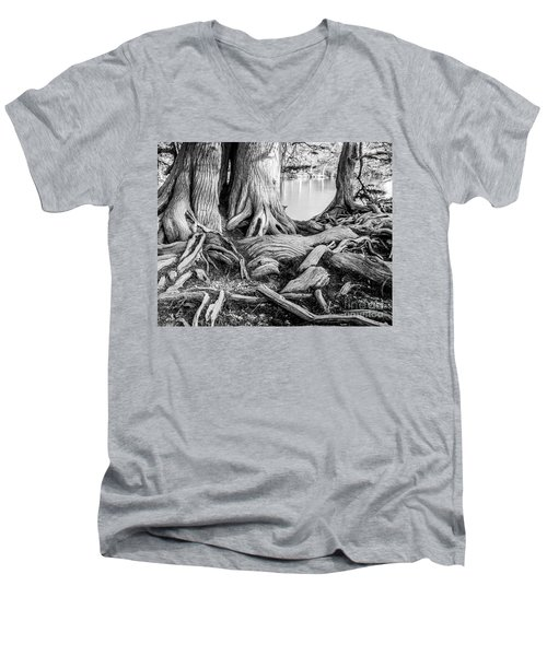 Guadalupe Bald Cypress In Black And White Men's V-Neck T-Shirt