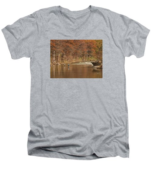 Guadalupe River Fly Fishing Men's V-Neck T-Shirt