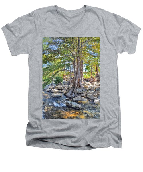 Guadalupe River Men's V-Neck T-Shirt by Savannah Gibbs