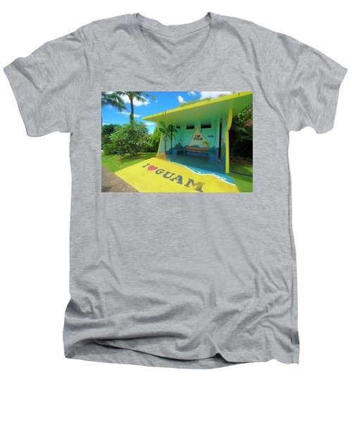 Guam Bus Stop Men's V-Neck T-Shirt
