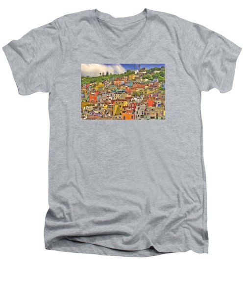 Guanajuato Hillside Men's V-Neck T-Shirt by Juli Scalzi