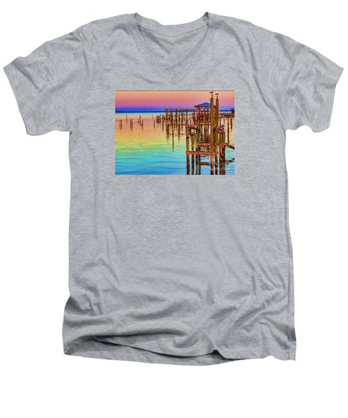 Guarding The Dock Men's V-Neck T-Shirt by Roberta Byram