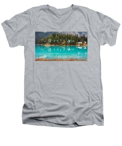 Men's V-Neck T-Shirt featuring the photograph Emerald Lake by Pierre Leclerc Photography