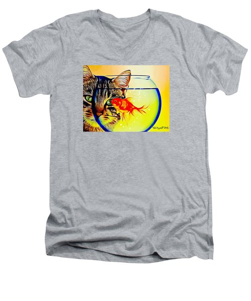 Men's V-Neck T-Shirt featuring the painting Guess Who's Coming To Dinner? by Ted Azriel