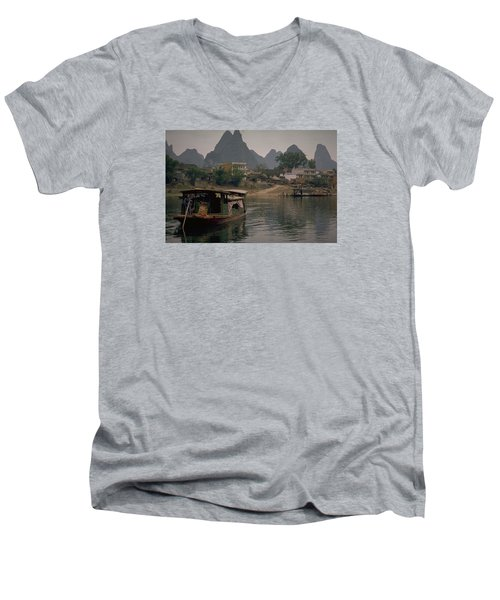 Guilin Limestone Peaks Men's V-Neck T-Shirt
