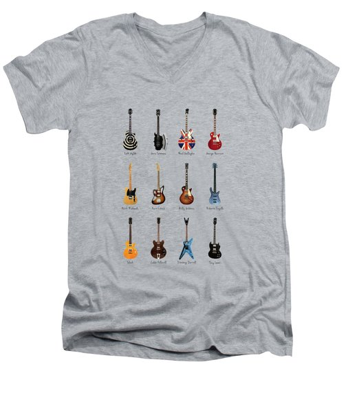 Guitar Icons No3 Men's V-Neck T-Shirt by Mark Rogan