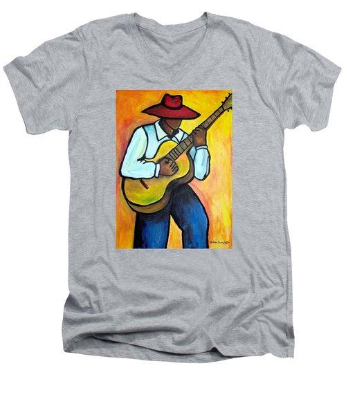 Guitar Man Men's V-Neck T-Shirt by Diane Britton Dunham